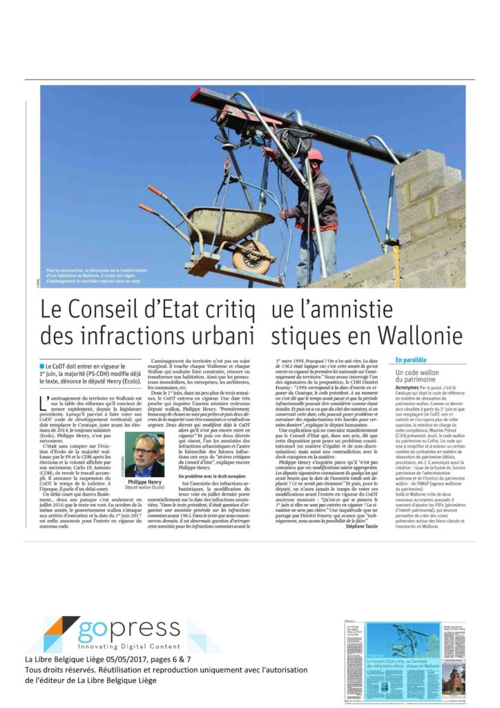 Article de La Libre Belgique du 6 mai 2017 sur le Code de Développement Territorial
