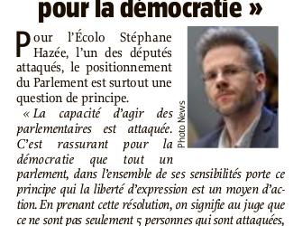 Intervention du Parlement dans le cadre de l'action de Nethys contre les parlementaires